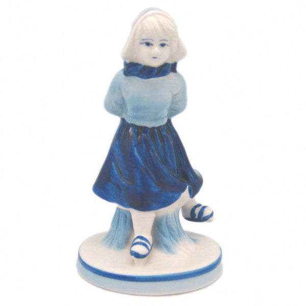 Delft Blue and White Figurine: Dutch Girl Skater