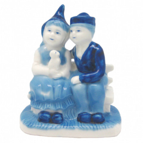 Delft Blue & White Figurine: Dutch Couple Sitting on Bench