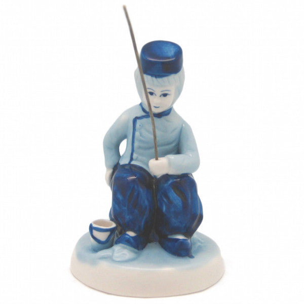 Delft Blue and White Figurine: Dutch Boy Fishing