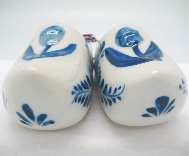 Pair of Delft Shoes with Embossed Tulip Design - 2.5 inches, 3 inches, 3.75 inches, Ceramics, CT-600, Decorations, Delft Blue, Dutch, Home & Garden, Netherlands, PS-Party Favors, PS-Party Favors Dutch, shoes, Size, Top-DTCH-B, Tulips, Wooden Shoe-Ceramic - 2 - 3 - 4