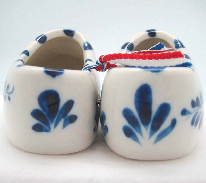 Pair of Delft Shoes with Embossed Tulip Design - 2.5 inches, 3 inches, 3.75 inches, Ceramics, CT-600, Decorations, Delft Blue, Dutch, Home & Garden, Netherlands, PS-Party Favors, PS-Party Favors Dutch, shoes, Size, Top-DTCH-B, Tulips, Wooden Shoe-Ceramic - 2