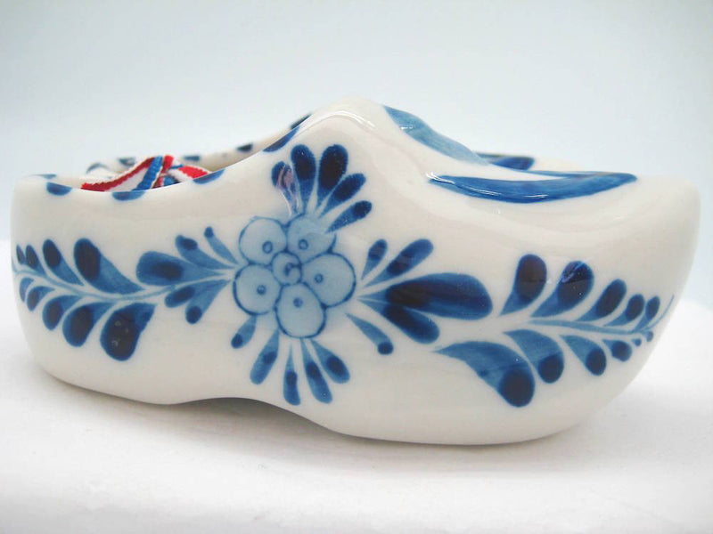 Pair of Delft Shoes with Embossed Tulip Design - 2.5 inches, 3 inches, 3.75 inches, Ceramics, CT-600, Decorations, Delft Blue, Dutch, Home & Garden, Netherlands, PS-Party Favors, PS-Party Favors Dutch, shoes, Size, Top-DTCH-B, Tulips, Wooden Shoe-Ceramic - 2 - 3