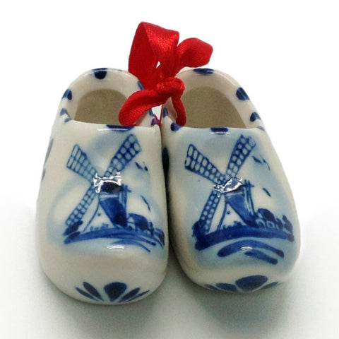 Delft Blue Wooden Clogs Pair with Windmill Design