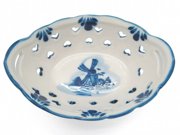 Delft Blue and White Oval Heart Shaped Ceramic Basket