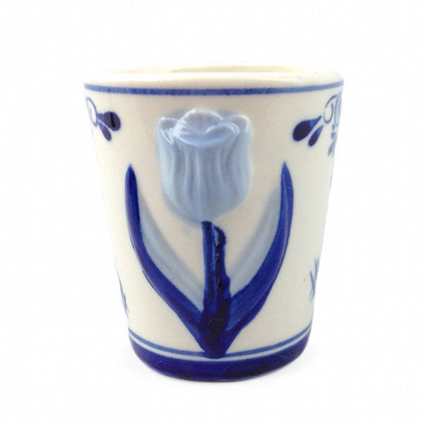 Porcelain Tulip Design Shot Glass - Alcohol, Barware, Ceramics, Collectibles, Delft Blue, Drinkware, Dutch, Home & Garden, PS-Party Favors, PS-Party Favors Dutch, Shot Glasses, Shots-Ceramic, Shots-Glass, Tableware, Top-DTCH-B, Tulips