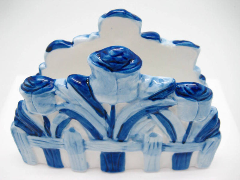 Delft Ceramic Napkin Holder with Tulip - Collectibles, Delft Blue, Dutch, Home & Garden, Napkin Holders, Tulips - 2 - 3