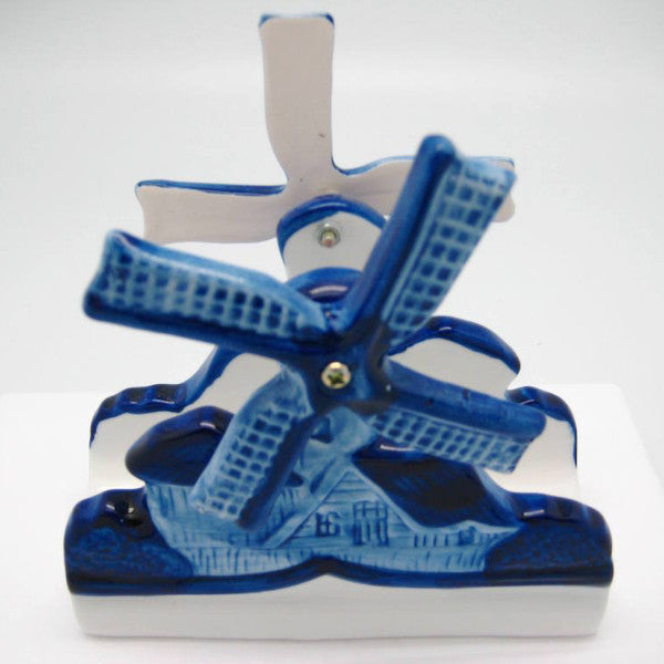 Windmill with Moving Blades Porcelain Napkin Holder - Collectibles, Delft Blue, Dutch, Home & Garden, Napkin Holders, Windmills - 2 - 3 - 4
