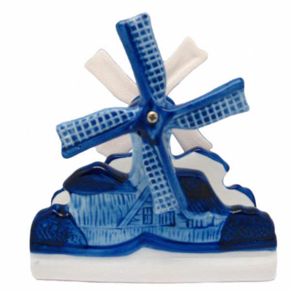 Windmill with Moving Blades Porcelain Napkin Holder - Collectibles, Delft Blue, Dutch, Home & Garden, Napkin Holders, Windmills