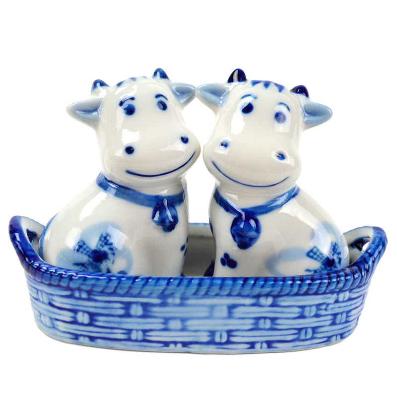 Cows Pepper and Salt Shakers: Cows/Basket