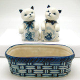 Kittens Pepper and Salt Shakers: Kittens/Basket - Animal, Below $10, Collectibles, Delft Blue, Dutch, Home & Garden, Kitchen Decorations, S&P Sets, Tableware, Under $10 - 2 - 3 - 4