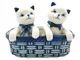 Kittens Pepper and Salt Shakers: Kittens/Basket - Animal, Below $10, Collectibles, Delft Blue, Dutch, Home & Garden, Kitchen Decorations, S&P Sets, Tableware, Under $10