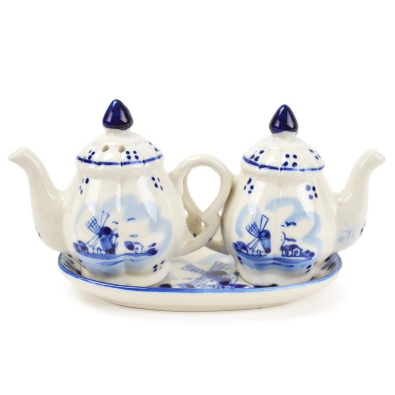Ceramic Blue & White Pepper and Salt Tea Pot Set