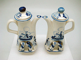 Oil & Vinegar Set Blue & White Kiss - Collectibles, Delft Blue, Dutch, Home & Garden, Kissing Couple, Oil & Vinegar Dispensers, PS-Party Favors - 2