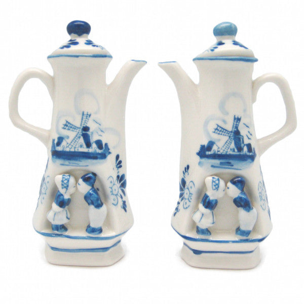 Oil & Vinegar Set Blue & White Kiss - Collectibles, Delft Blue, Dutch, Home & Garden, Kissing Couple, Oil & Vinegar Dispensers, PS-Party Favors