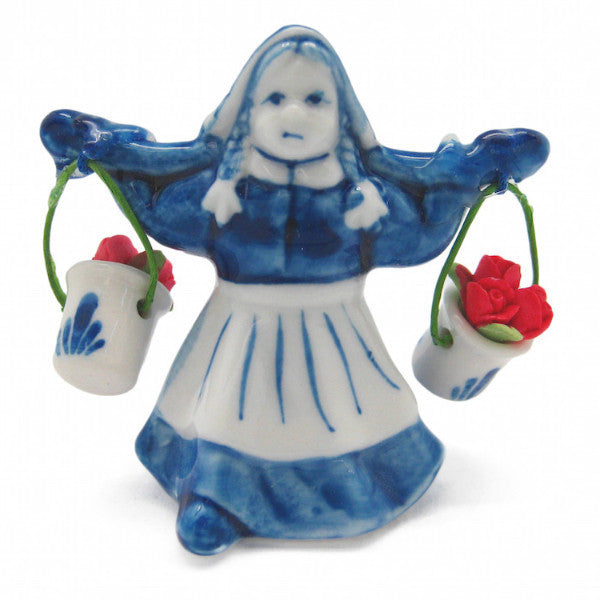 Delf Blue and White Milkmaid With Colored Tulips - Collectibles, Decorations, Delft Blue, Dutch, Figurines, Home & Garden, L, Milkmaid, PS-Party Favors, PS-Party Favors Dutch, Size, Small, Top-DTCH-B, Tulips