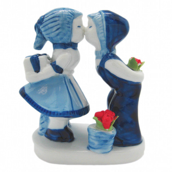 Delft Blue Ceramic Kiss with Tulips - Collectibles, Decorations, Delft Blue, Dutch, Figurines, Home & Garden, Kissing Couple, L, Medium, PS-Party Favors, PS-Party Favors Dutch, Size, Small, Top-DTCH-B, Tulips - 2 - 3