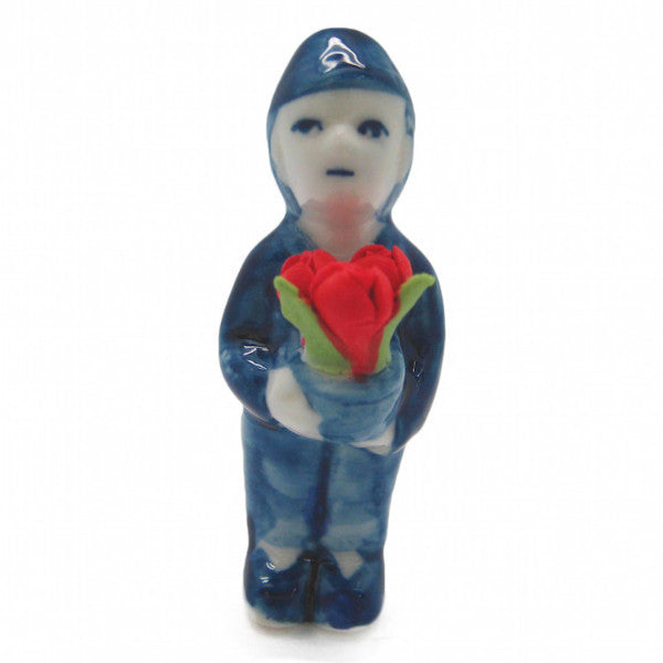 Miniature Boy with Tulips - Collectibles, Delft Blue, Dutch, Figurines, Home & Garden, Miniatures, Miniatures-Dutch, PS-Party Favors, PS-Party Favors Dutch, Tulips