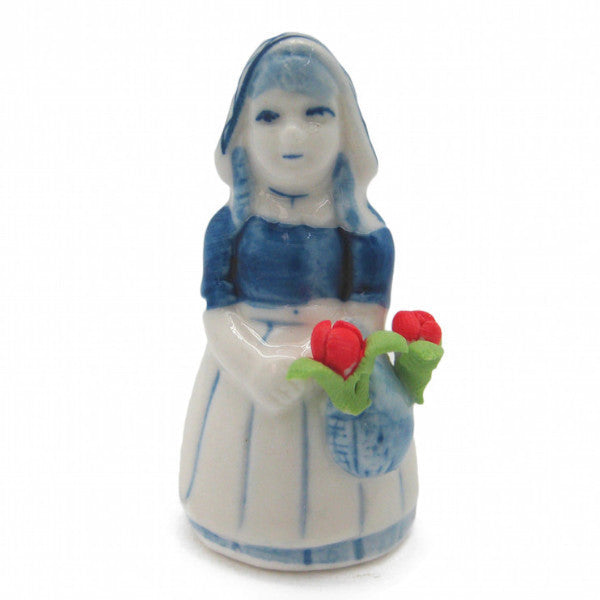 Miniature Girl with Tulips - Collectibles, Delft Blue, Dutch, Figurines, Home & Garden, Miniatures, Miniatures-Dutch, PS-Party Favors, PS-Party Favors Dutch, Top-DTCH-B, Tulips