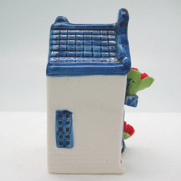 Miniature Ceramic House with Tulips - Collectibles, Delft Blue, Dutch, Home & Garden, Miniatures, Miniatures-Dutch, PS-Party Favors, PS-Party Favors Dutch, Tulips - 2 - 3