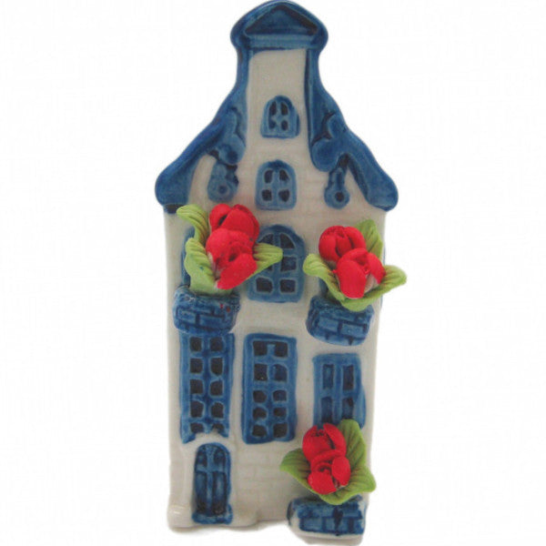 Miniature Ceramic House with Tulips - Collectibles, Delft Blue, Dutch, Home & Garden, Miniatures, Miniatures-Dutch, PS-Party Favors, PS-Party Favors Dutch, Tulips
