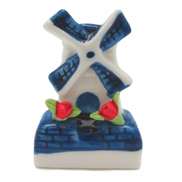 Miniature Ceramic Windmill with Tulips - Collectibles, Delft Blue, Dutch, Home & Garden, Miniatures, Miniatures-Dutch, PS-Party Favors, PS-Party Favors Dutch, Tulips, Windmills