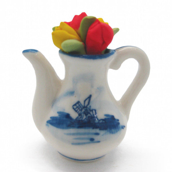 Miniature Ceramic Teapot with Tulips - Collectibles, Delft Blue, Dutch, Home & Garden, Miniatures, Miniatures-Dutch, PS-Party Favors, PS-Party Favors Dutch, Tea, Tea Pots, Top-DTCH-B, Tulips