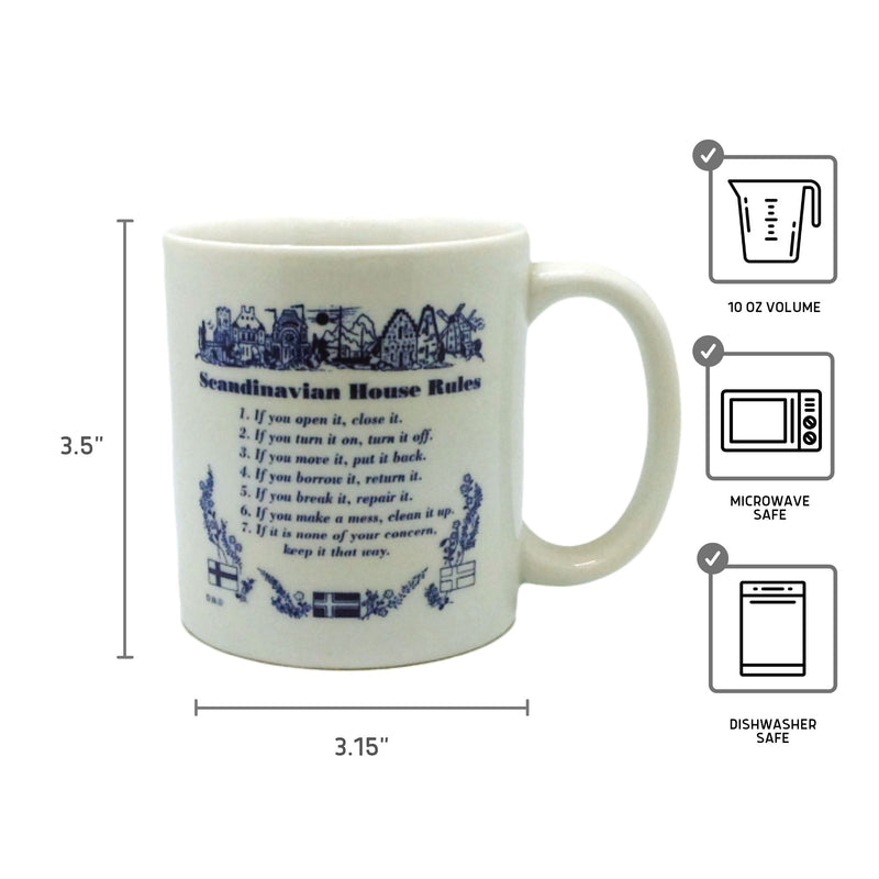"Danish Gift Coffee Mug ""Scandinavian House Rules"""