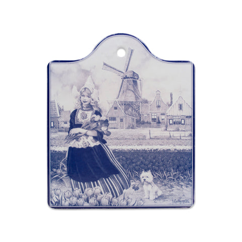 Tulip Girl in Blue Cheeseboard With Cork Backing