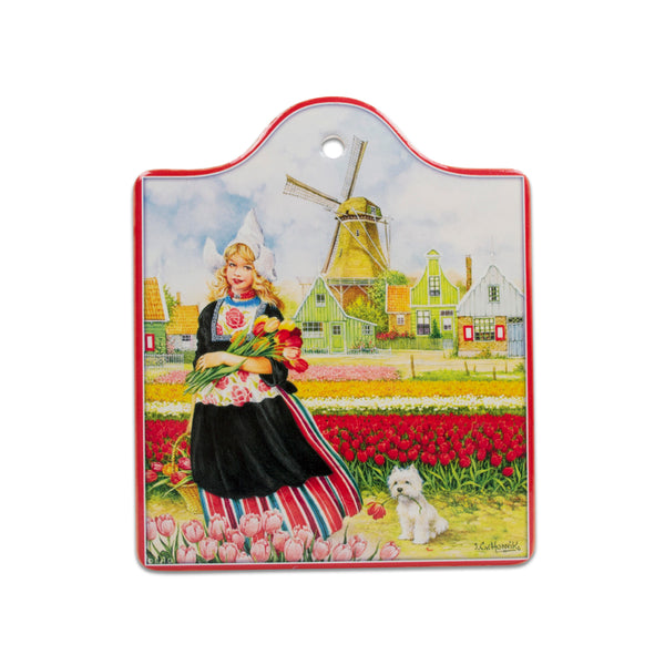 Tulip Girl Porcelain Cheeseboard w/ Cork Backing
