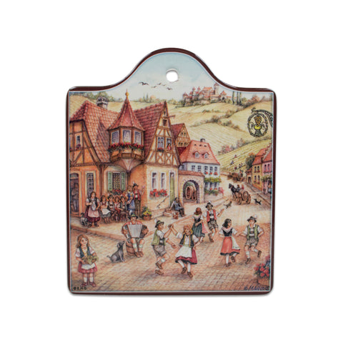 Ceramic Cheeseboard with Cork Backing: Dancers