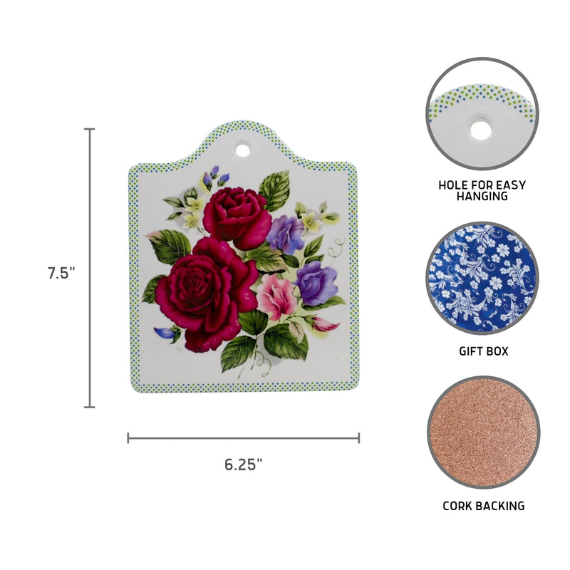 Ceramic Cheeseboard with Cork Backing: Roses