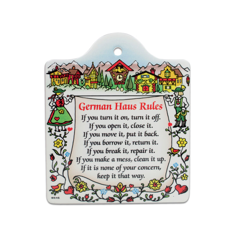 Cork Backed Ceramic Cheeseboard: German Haus Rules