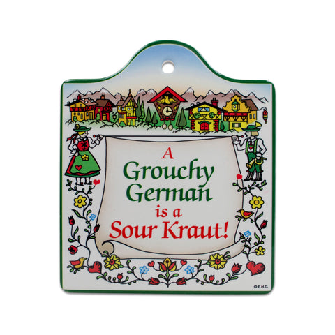 Cork Backed Ceramic Cheeseboard: Grouchy German