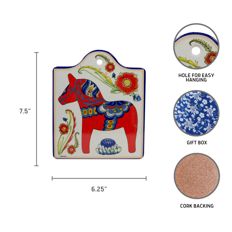 Cork Backed Ceramic Cheeseboard: Red Horse