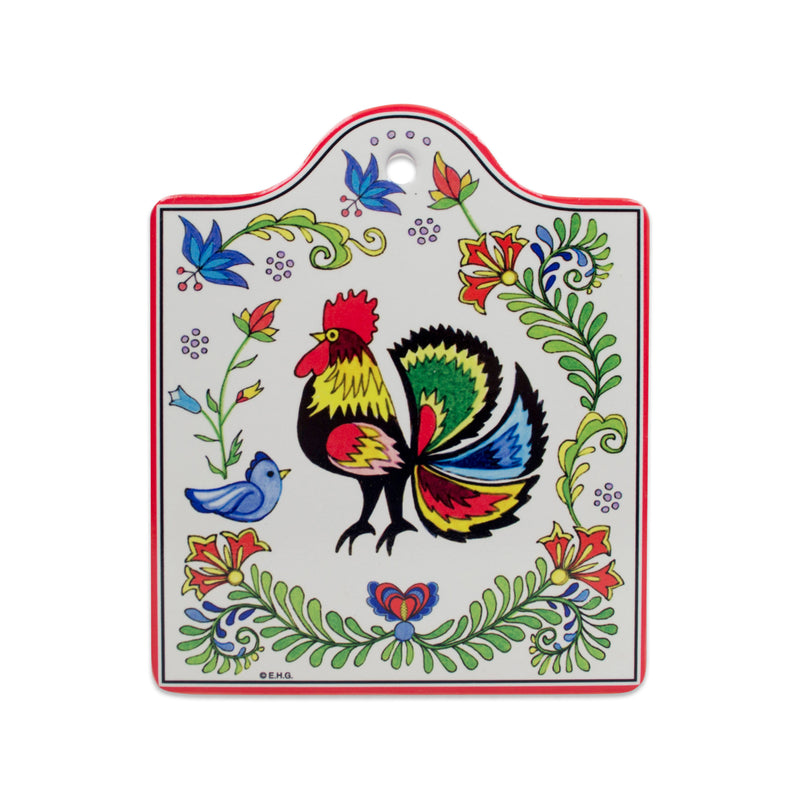 Ceramic Cheeseboard with Cork Backing: Rooster