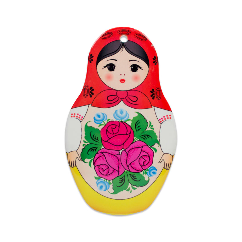 Nesting Doll with Red Scarf Decorative Kitchen Trivet