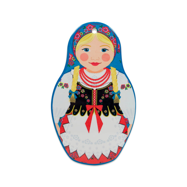 Nesting Doll with Blue Scarf Decorative Kitchen Trivet