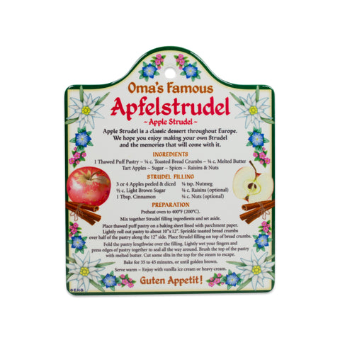 Ceramic Trivet with German Apfel Strudel Recipe
