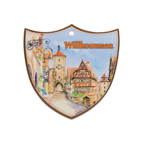 Ceramic Decoration Shield Willkommen
