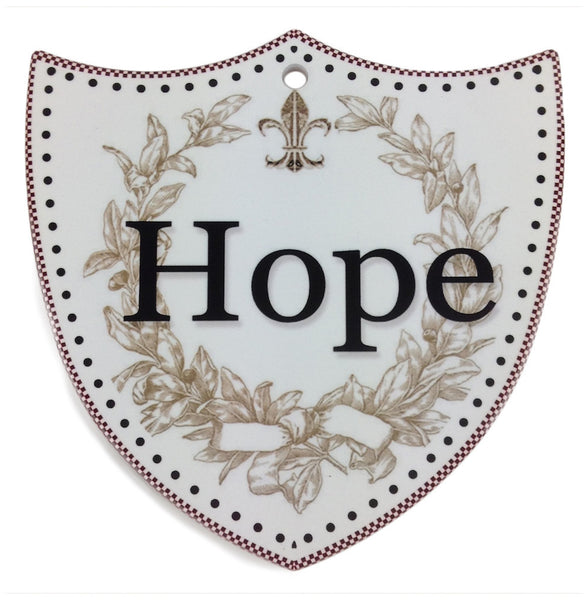 Ceramic Decoration Shield Hope