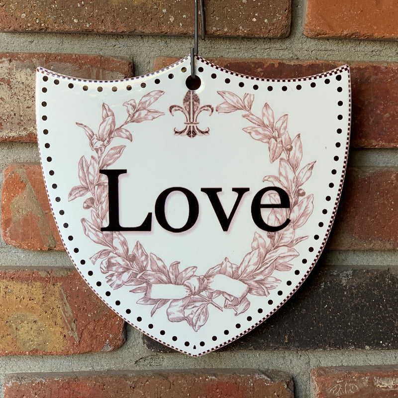 Ceramic Decoration Shield Love
