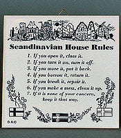 inchesScandinavian House Rules inches Danish Gift Idea Tile - Below $10, Collectibles, CT-205, CT-215, CT-240, CT-455, Danish, Home & Garden, Kitchen Decorations, Scandinavian, SY: House Rules-Scandinavian, Tiles-Danish - 2