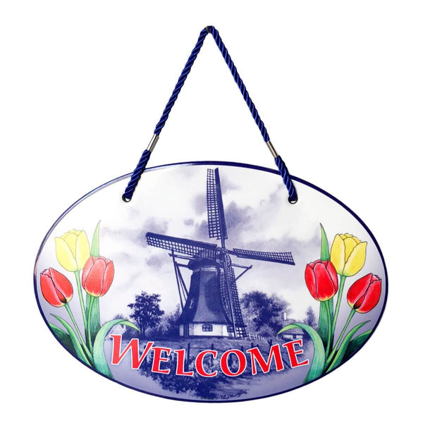 Welcome Windmill Tulips Decorative Ceramic Door Sign