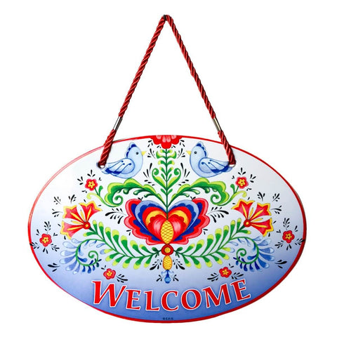 Rosemaling Lovebirds Welcome Decorative Ceramic Door Sign