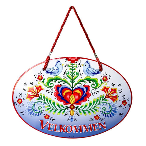 Rosemaling Lovebirds Velkommen Decorative Ceramic Door Sign