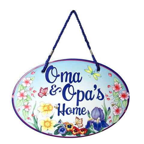 Oma & Opa's House Decorative Door Sign Flower Design
