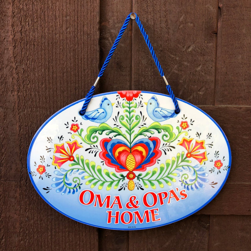 Oma & Opa's House Decorative Door Sign Rosemaling Design