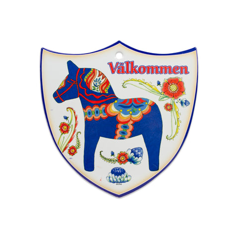 Ceramic Decoration Shield Blue Dala Horse