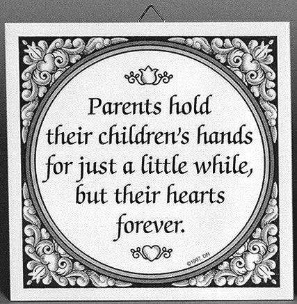 Parents Hold Children's Hand Inspirational Wall Plaque - Below $10, Black, Blue, Collectibles, Color, Decorations, General Gift, Home & Garden, Kitchen Decorations, SY: Parents Hold Children's Hands, Tiles-Sayings, Under $10 - 2