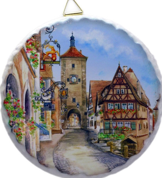 Round Ceramic Tile: Rothenburg - Collectibles, CT-220, Euro Village, European, German, Germany, Home & Garden, Kitchen Decorations, PS-Party Favors German, Tiles-Round